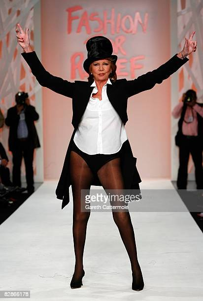 Cilla Black walks the runway during the Fashion For Relief show during London Fashion Week Spring/Summer 2009 on September 17 2008 in London England...