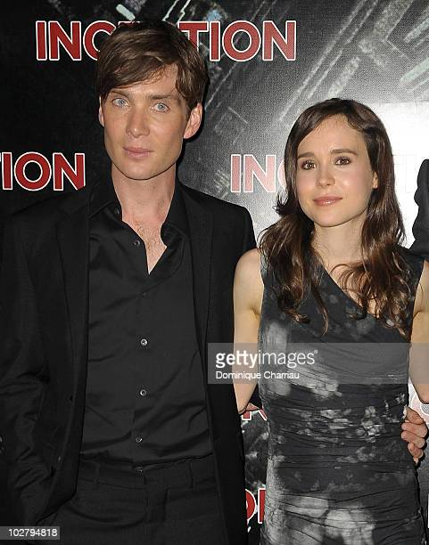 Cillian Murphy and Ellen Page attend the Paris Premiere for the film 'Inception' at Gaumont Champs Elysees on July 10 2010 in Paris France