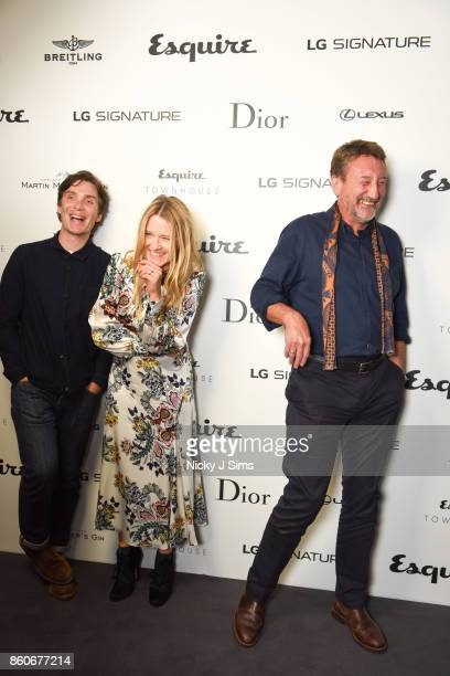 Cillian Murphy Edith Bowman and Steven Knight attend an An Evening with Steven Knight and Cillian Murphy from Peaky Blinders at Esquire Townhouse...