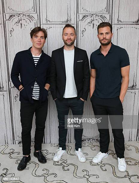Cillian Murphy Sean Ellis and Jamie Dornan pose for a photo at AOL Build at AOL HQ on August 5 2016 in New York City