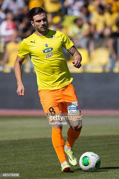 Cillian Sheridan of APOEL FC in action before the Cypriot First Division match AEL Limassol FC and APOEL FC at the Tsirion Stadium on May 17 2014 in...