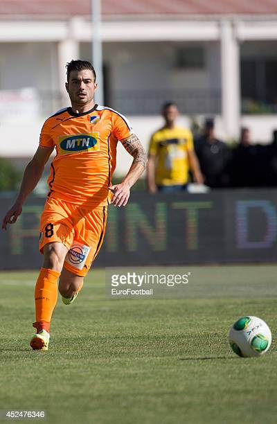 Cillian Sheridan of APOEL FC in action during the Cypriot First Division match AEL Limassol FC and APOEL FC at the Tsirion Stadium on May 17 2014 in...