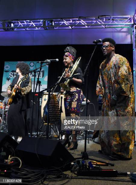Cimafunk performs onstage at SXSW presents the International Day Stage during the 2019 SXSW Conference and Festivals at Austin Convention Center on...