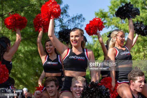 Cincinnati Bearcats cheerleaders are seen before the game against the UCLA Bruins at Nippert Stadium on August 29 2019 in Cincinnati Ohio