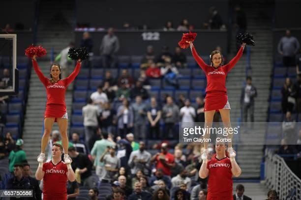 Cincinnati Bearcats cheerleaders perform during the UConn Huskies Vs Cincinnati Bearcats, American Athletic Conference Semi Final, NCAA Men's...
