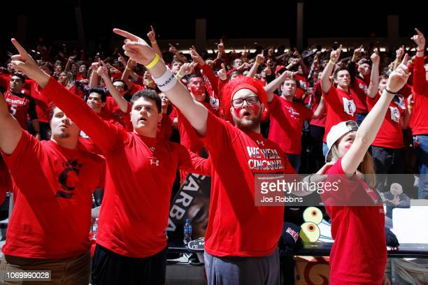 Cincinnati Bearcats fans get ready before the game against the Xavier Musketeers at Fifth Third Arena on December 8, 2018 in Cincinnati, Ohio.