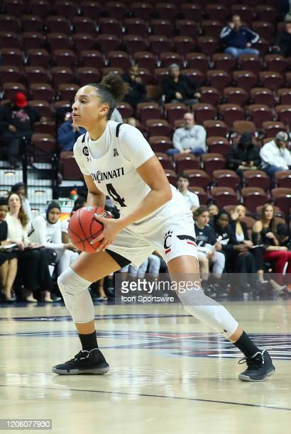 Cincinnati Bearcats forward Angel Rizor with the ball during the women's American Athletic Conference Tournament game between Memphis Tigers and...