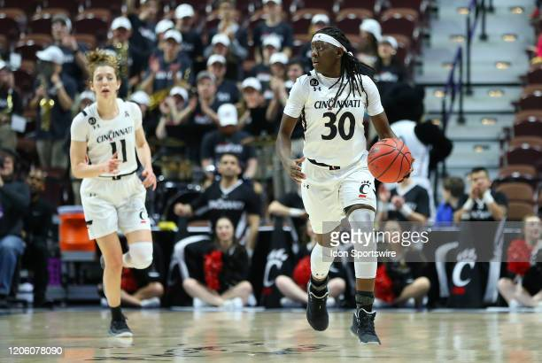 Cincinnati Bearcats guard Florence Sifa with the ball during the women's American Athletic Conference Tournament game between Memphis Tigers and...