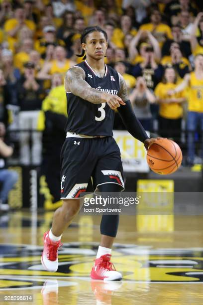 Cincinnati Bearcats guard Justin Jenifer brings the ball upcourt in the first half of an American Athletic Conference matchup between the 10th ranked...