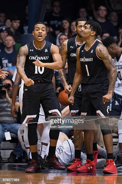 Cincinnati Bearcats guard Troy Caupain yells after a three point play during the NCAA men's basketball game between the Butler Bulldogs and...