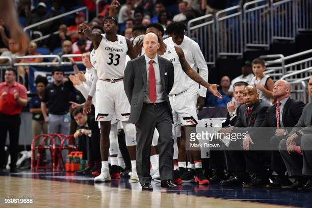 Cincinnati Bearcats head coach Mick Cronin during the final game of the 2018 AAC Basketball Championship against the Houston Cougars at Amway Center...