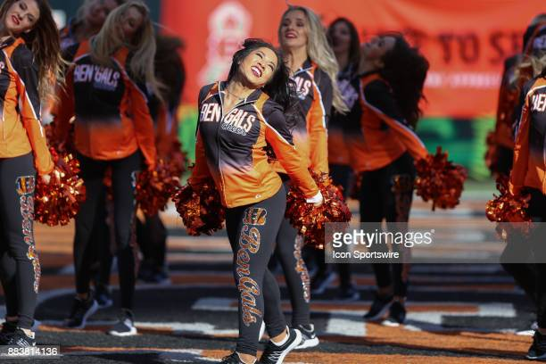 Cincinnati Bengals Cheerleaders perform during the game against the Cleveland Browns and the Cincinnati Bengals on November 26th 2017 at Paul Brown...