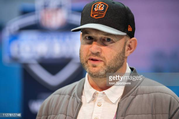 Cincinnati Bengals Director of Player Personnel Duke Tobin answers questions from the media during the NFL Scouting Combine on February 27 2019 at...