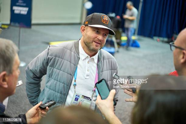 Cincinnati Bengals Director of Player Personnel Duke Tobin speaks to the media during the NFL Scouting Combine on February 27 2019 at the Indiana...