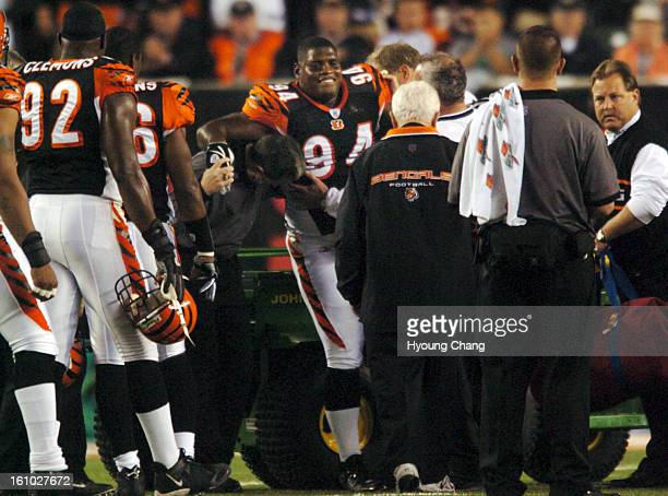 OCTOBER 25 2004 Cincinnati Bengals DT Tony Williams leaves the field after an injury during the 2nd quarter of monday night football game at Paul...