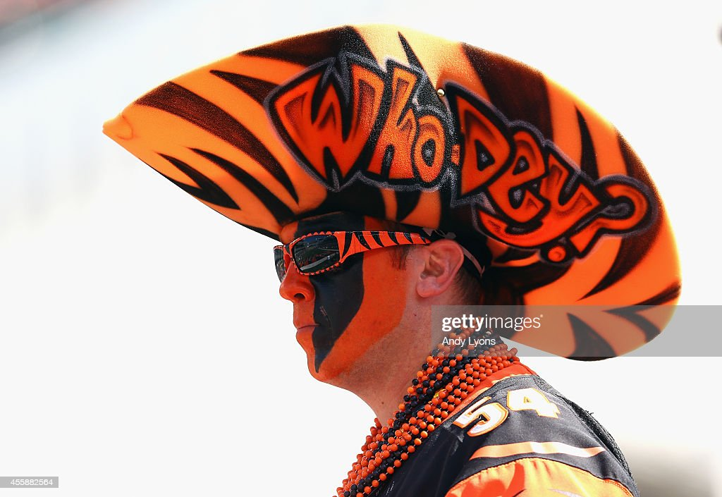 A Cincinnati Bengals fan watches the action during the game against the Tennessee Titans at Paul Brown Stadium on September 21, 2014 in Cincinnati, Ohio.