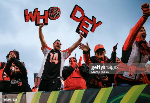 Cincinnati Bengals fans celebrate following the first win of the season against the New York Jets at Paul Brown Stadium on December 1 2019 in...