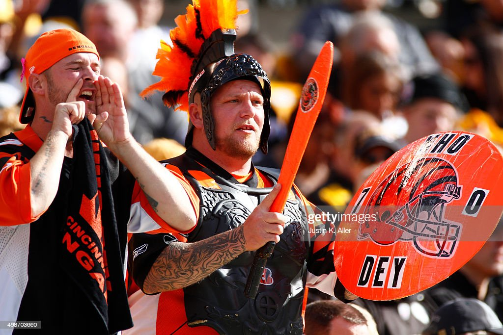 Cincinnati Bengals fans during the game between the Cincinnati Bengals and the Pittsburgh Steelers on November 1, 2015 at Heinz Field in Pittsburgh, Pennsylvania.