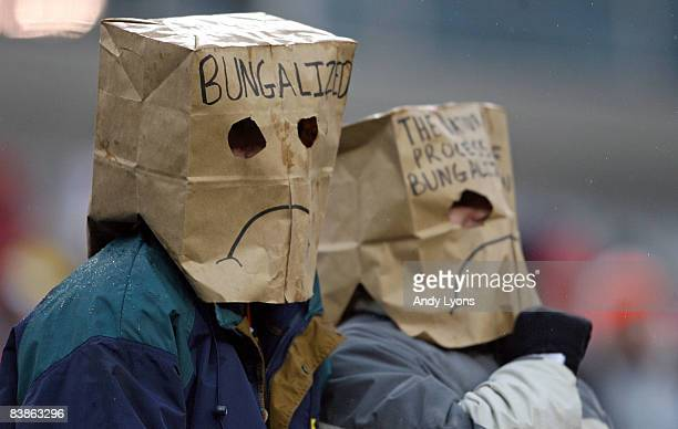 Cincinnati Bengals fans show their frustration with their team during the NFL game against the Baltimore Ravens on November 30 2008 at Paul Brown...
