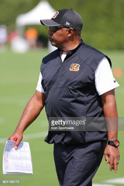 Cincinnati Bengals head coach Marvin Lewis looks on during Cincinnati Bengals training camp practice on July 28th in Cincinnati OH