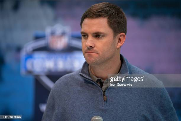 Cincinnati Bengals head coach Zac Taylor answers questions from the media during the NFL Scouting Combine on February 27 2019 at the Indiana...