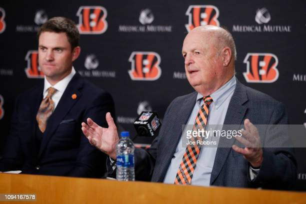 Cincinnati Bengals owner Mike Brown speaks to the media after introducing Zac Taylor as the new head coach at Paul Brown Stadium on February 5, 2019...