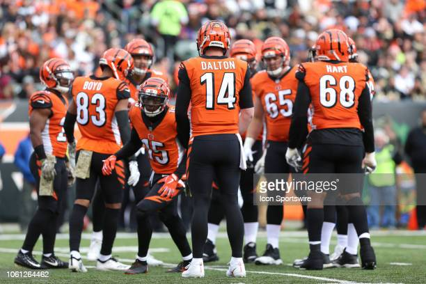 Cincinnati Bengals quarterback Andy Dalton and the Bengals huddle during the game against the New Orleans Saints and the Cincinnati Bengals on...