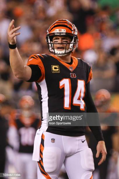 Cincinnati Bengals quarterback Andy Dalton calls out a play during the game against the Baltimore Ravens and the Cincinnati Bengals on September 13th...