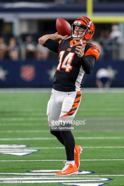 Cincinnati Bengals quarterback Andy Dalton during warmups before the game between the Dallas Cowboys and the Cincinnati Bengals on August 18 2018 at...