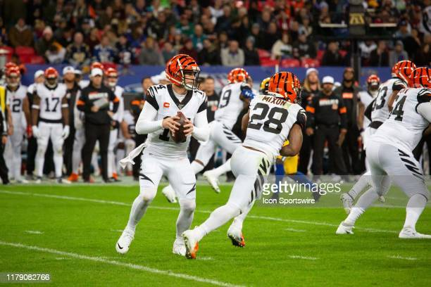 Cincinnati Bengals Quarterback Andy Dalton fakes a handoff to Cincinnati Bengals Running Back Joe Mixon during the NFL game between the Cincinnati...