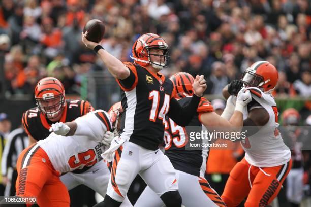 Cincinnati Bengals quarterback Andy Dalton passes the ball during the game against the Cleveland Browns and the Cincinnati Bengals on November 25th...