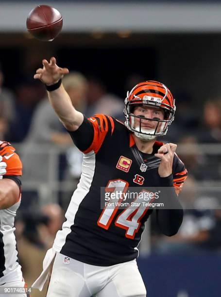 Cincinnati Bengals quarterback Andy Dalton puts the ball in the air against the Dallas Cowboys on October 9 at ATT Stadium in Arlington Texas