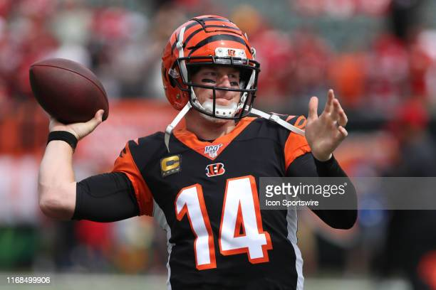 Cincinnati Bengals quarterback Andy Dalton warms up before the game against the San Francisco 49ers and the Cincinnati Bengals on September 15th 2019...