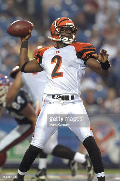 Cincinnati Bengals quarterback Anthony Wright delivers a pass in a pre-season game against the Buffalo Bills at Ralph Wilson Stadium in Orchard Park,...