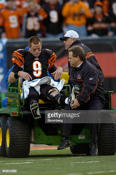 Cincinnati Bengals quarterback Carson Palmer is taken off the field after injuring his knee during the first quarter in a game against the Pittsburgh...