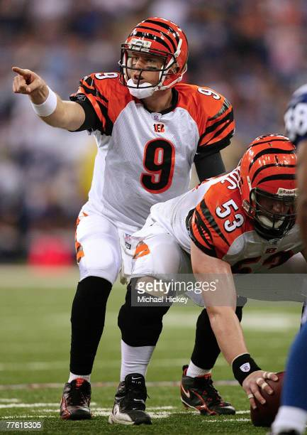 Cincinnati Bengals quarterback Carson Palmer points to the defense as he waits for the snap during action against the Indianapolis Colts at the RCA...