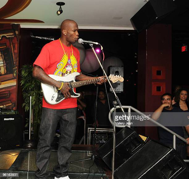 Cincinnati Bengals receiver NFL player Chad Javon Ochocinco on stage during 400 Club Sunday at Karma Nightclub on January 24 2010 in Miami Florida