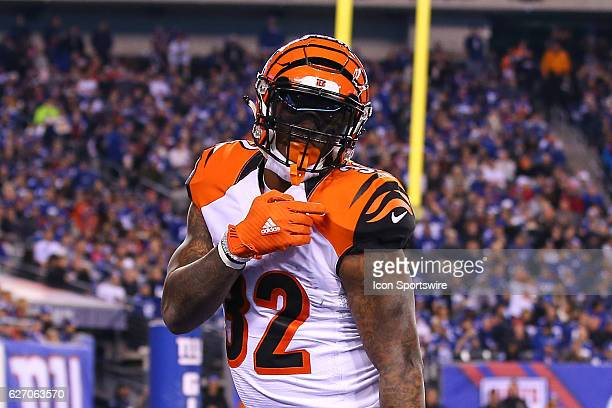 Cincinnati Bengals running back Jeremy Hill celebrates after scoring a touchdown during the second half of the National Football League game between...