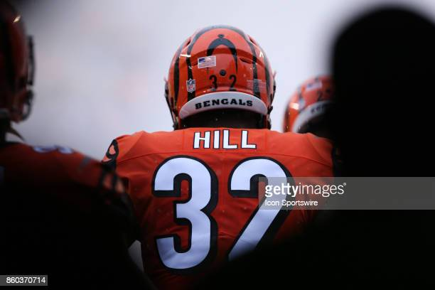 Cincinnati Bengals running back Jeremy Hill runs onto the field before the game against the Buffalo Bills and the Cincinnati Bengals on October 8th...