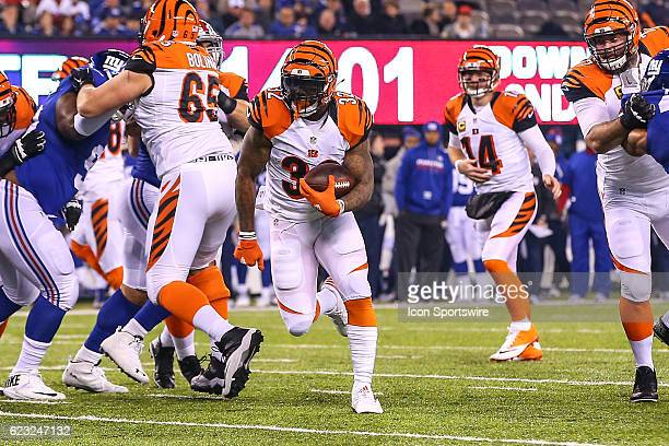 Cincinnati Bengals running back Jeremy Hill scores a touchdown during the third quarter of the National Football League game between the New York...