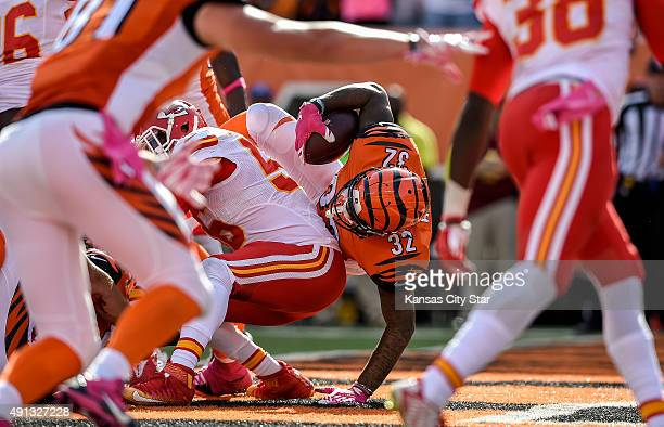 Cincinnati Bengals running back Jeremy Hill scores a touchdown on a oneyard run during the fourth quarter on Sunday Oct 4 at Paul Brown Stadium in...