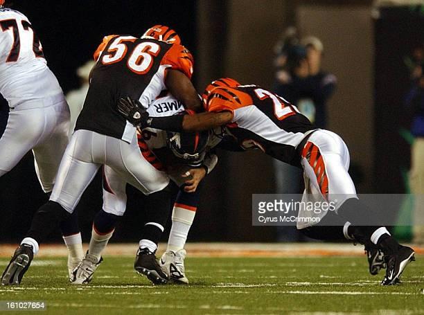 Cincinnati Bengals versus the Denver Broncos at Paul Brown Stadium. In the fourth quarter Jake Plummer is sacked by Brian Simmons and Keiwan Ratliff...