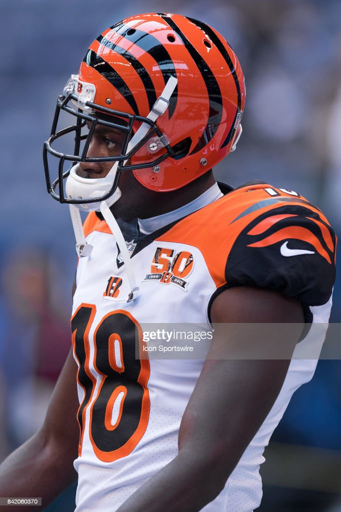 Cincinnati Bengals wide receiver A.J. Green (18) on the field before the NFL preseason game between the Cincinnati Bengals and Indianapolis Colts on August 31, 2017, at Lucas Oil Stadium in Indianapolis, IN.