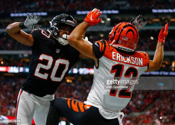 Cincinnati Bengals wide receiver Alex Erickson has the pass broken up by Atlanta Falcons cornerback Isaiah Oliver in an NFL football game between the...