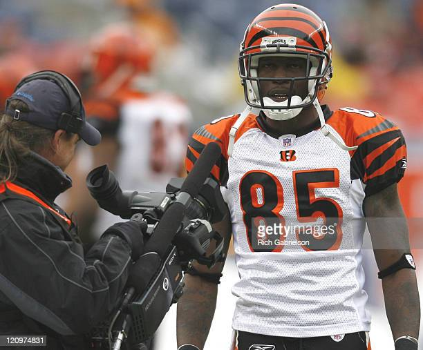 Cincinnati Bengals wide receiver Chad Johnson during pregame warmups before the matchup with the Denver Broncos at Invesco Field at Mile High in...
