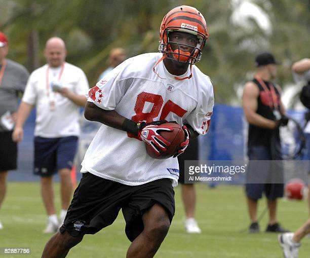 Cincinnati Bengals wide receiver Chad Johnson grabs a pass during an AFC practice Feb 7 for the 2007 Pro Bowl at Kapolei Hawaii