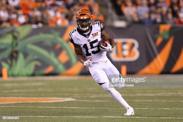 Cincinnati Bengals wide receiver John Ross carries the ball during the NFL game against the Houston Texans and the Cincinnati Bengals on September...