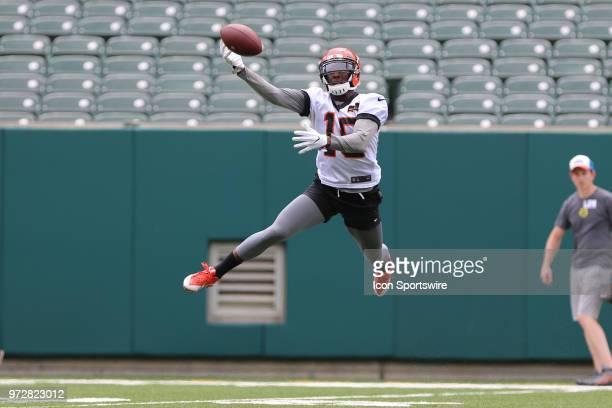 Cincinnati Bengals wide receiver John Ross catches a pass during Bengals minicamp on June 12th 2018 at Paul Brown Stadium in Cincinnati OH