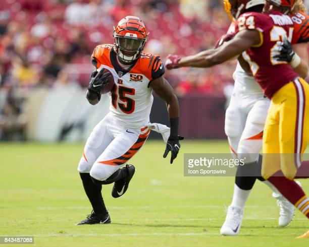 Cincinnati Bengals wide receiver John Ross runs upfield during the NFL preseason game between the Cincinnati Bengals and the Washington Redskins on...