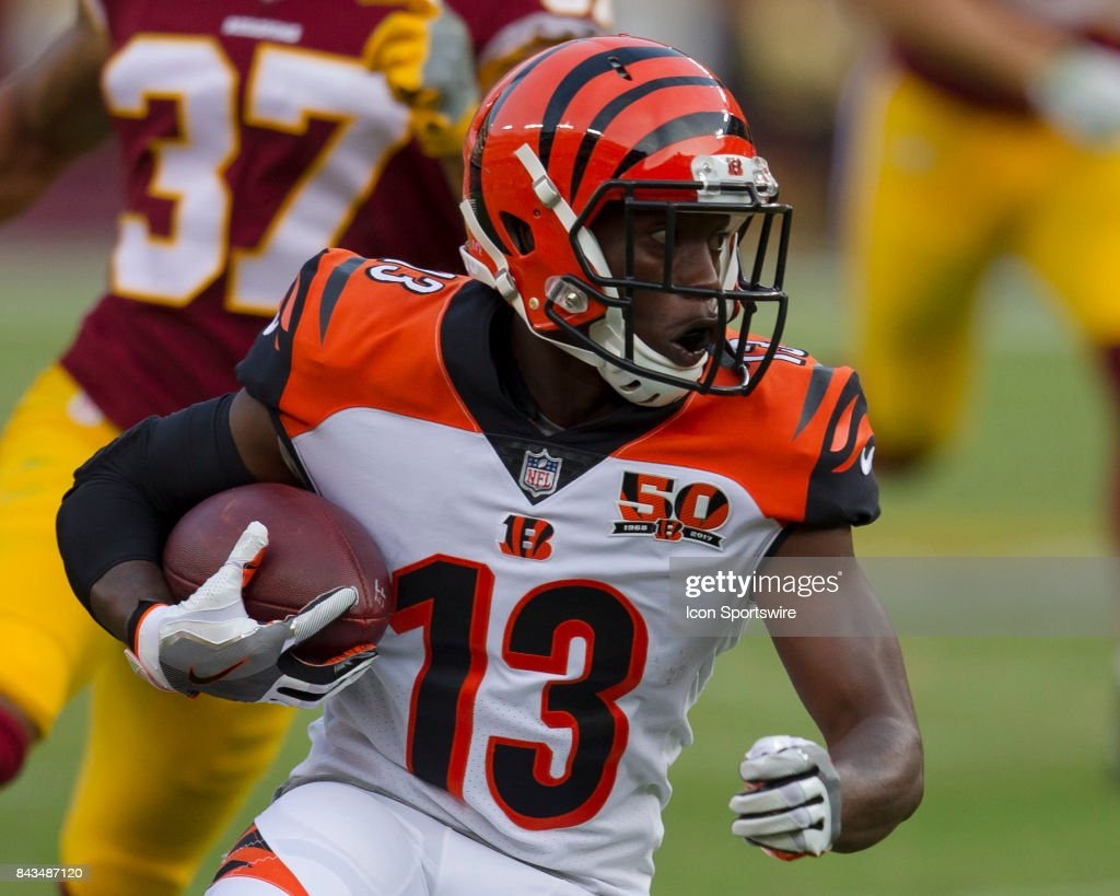 1537dbe2 98891 c394f; good 13 game football jersey cincinnati bengals wide receiver  kermit whitfield 13 attempts to elude a